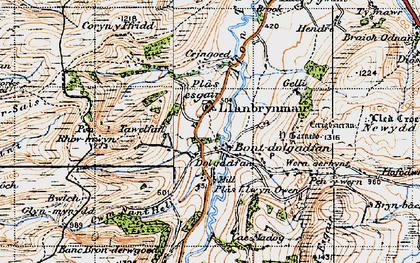 Old map of Bont Dolgadfan in 1947