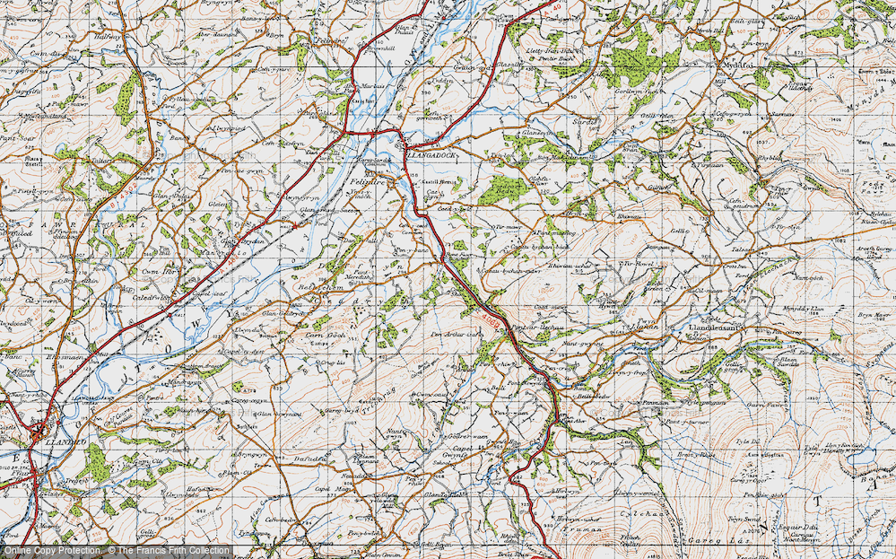 Old Map of Historic Map covering Tirmawr in 1947