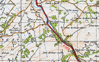 Old map of Tirmawr in 1947