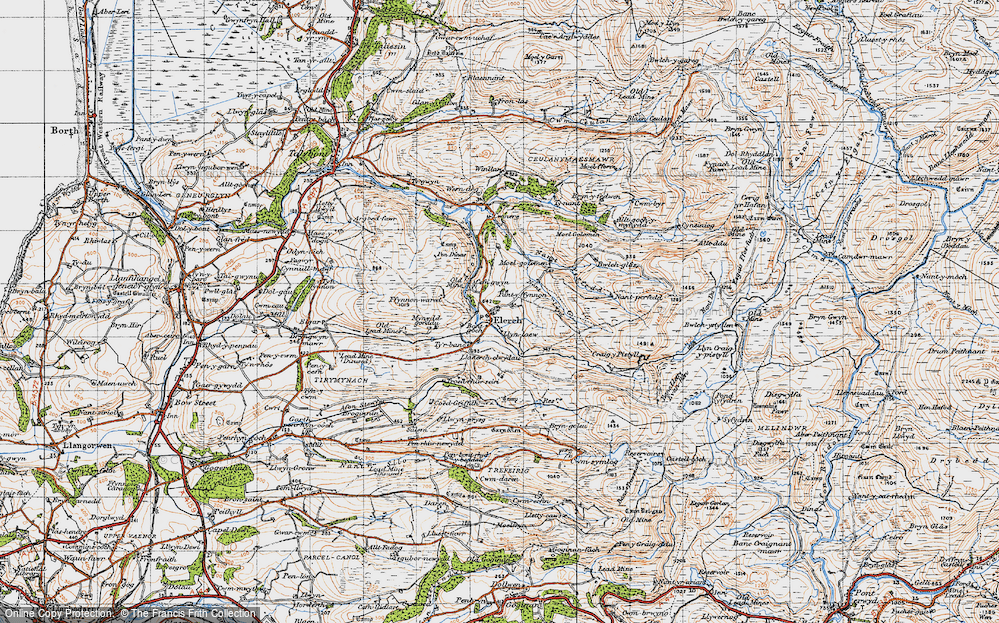 Old Map of Historic Map covering Alltgochymynydd in 1947