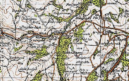 Old map of Aber-ddu in 1947
