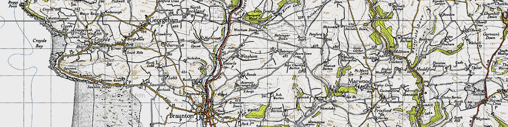 Old map of Winsham Down Ho in 1946