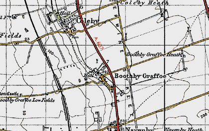 Old map of Boothby Graffoe in 1947