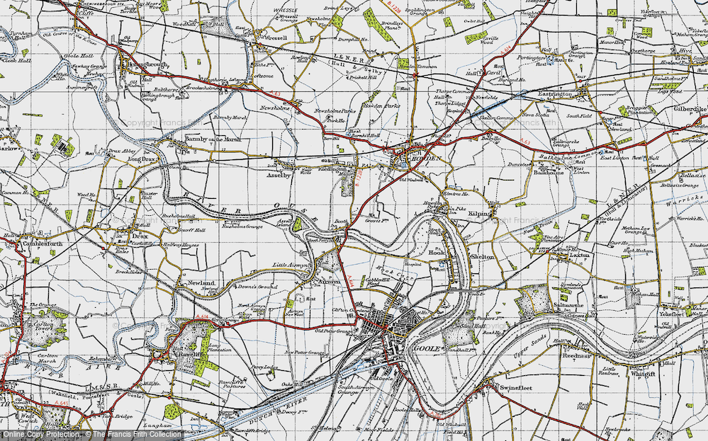 Old Map of Historic Map covering Asselby Island in 1947