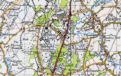 Old map of Bordon in 1940