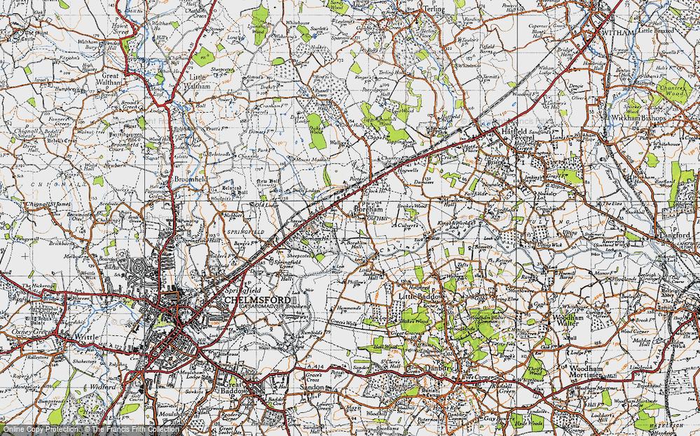 Old Map of Boreham, 1945 in 1945