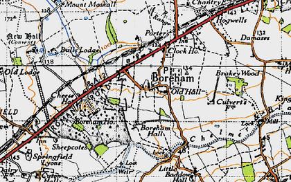 Old map of Boreham in 1945