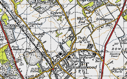 Old map of Borehamwood in 1946