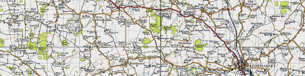 Old map of Woolpit Wood in 1946