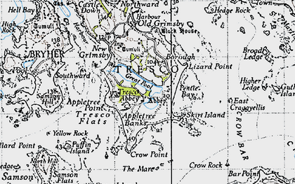 Old map of Tresco in 1946