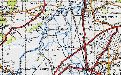 Old map of Borough Marsh in 1947