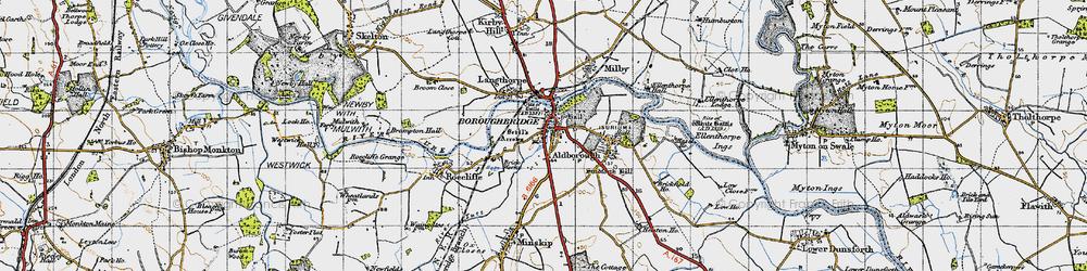 Old map of Boroughbridge in 1947