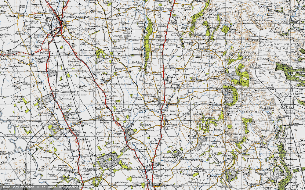 Old Map of Historic Map covering Leake Ho in 1947