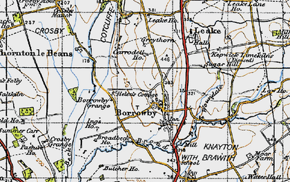 Old map of Woundales in 1947