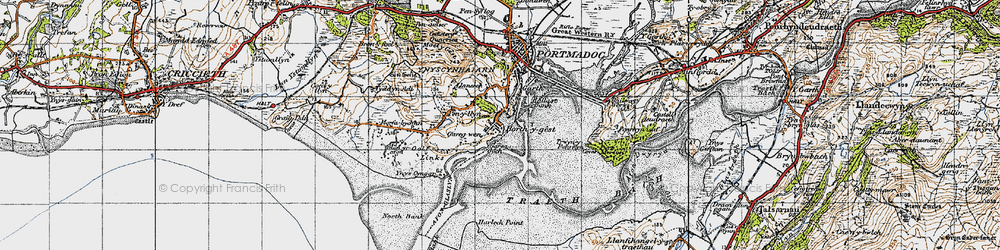 Old map of Borth-y-Gest in 1947