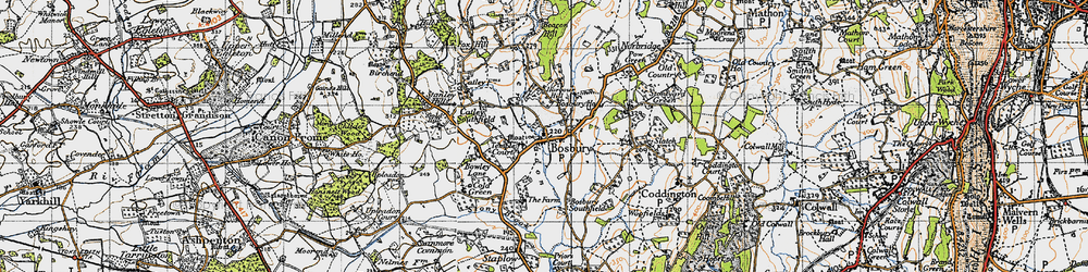 Old map of Bosbury in 1947