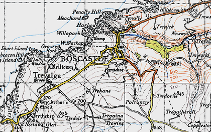 Old map of Boscastle in 1946