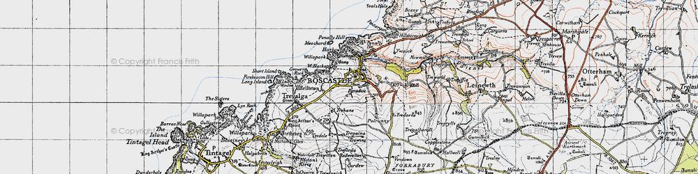 Old map of Boscastle in 1946