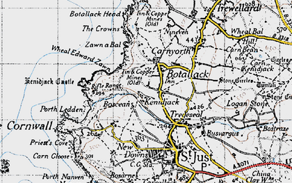 Old map of Wheal Edward Zawn in 1946