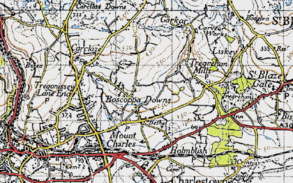Old map of Boscoppa in 1946