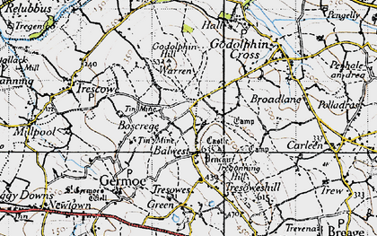 Old map of Boscreege in 1946
