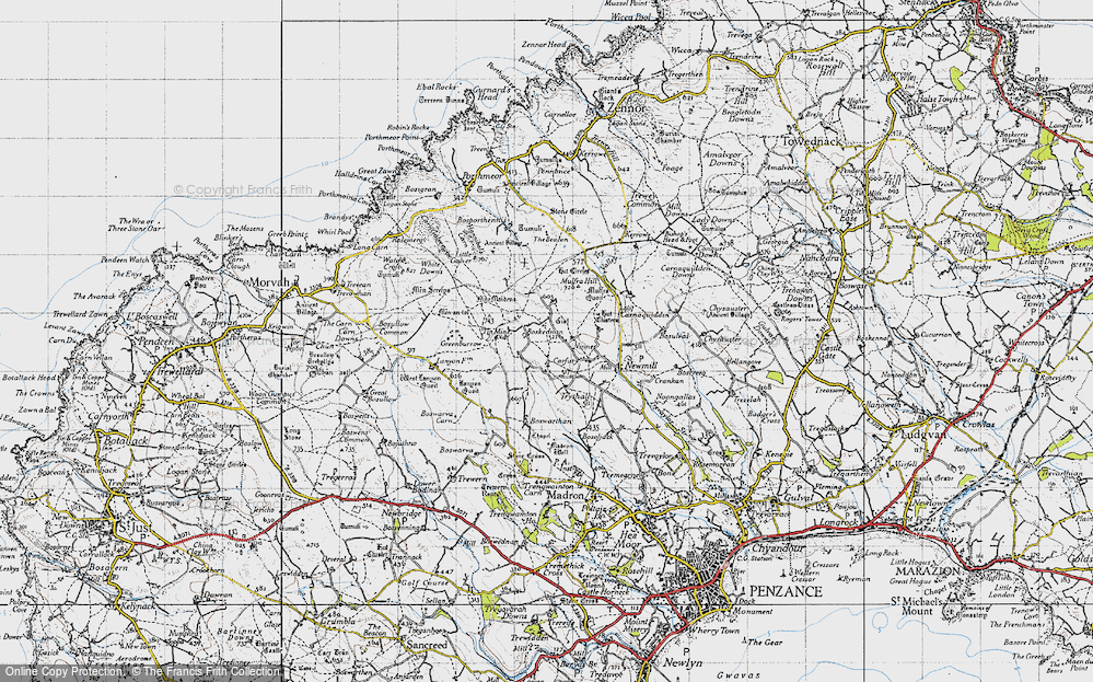 Old Map of Historic Map covering Lanyon Quoit in 1946