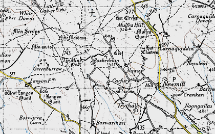 Old map of Boskednan in 1946