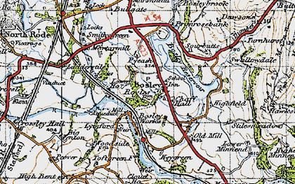 Old map of Bosley in 1947