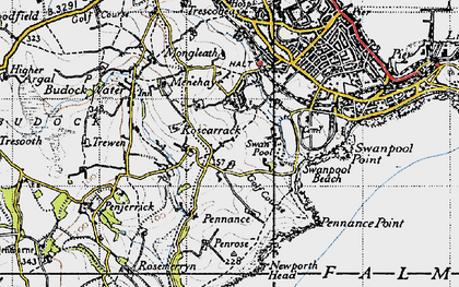 Old map of Boslowick in 1946