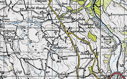 Old map of Boslymon in 1946