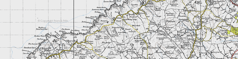 Old map of White Downs in 1946