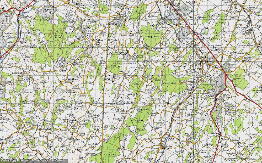 Old Map of Historic Map covering Atchester Wood in 1947
