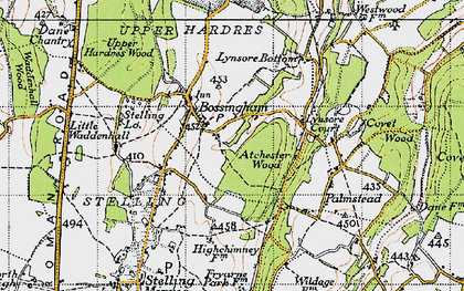Old map of Atchester Wood in 1947