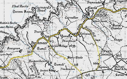 Old map of Boswednack in 1946
