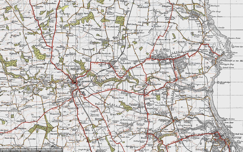 Old Map of Historic Map covering Whitefield in 1947