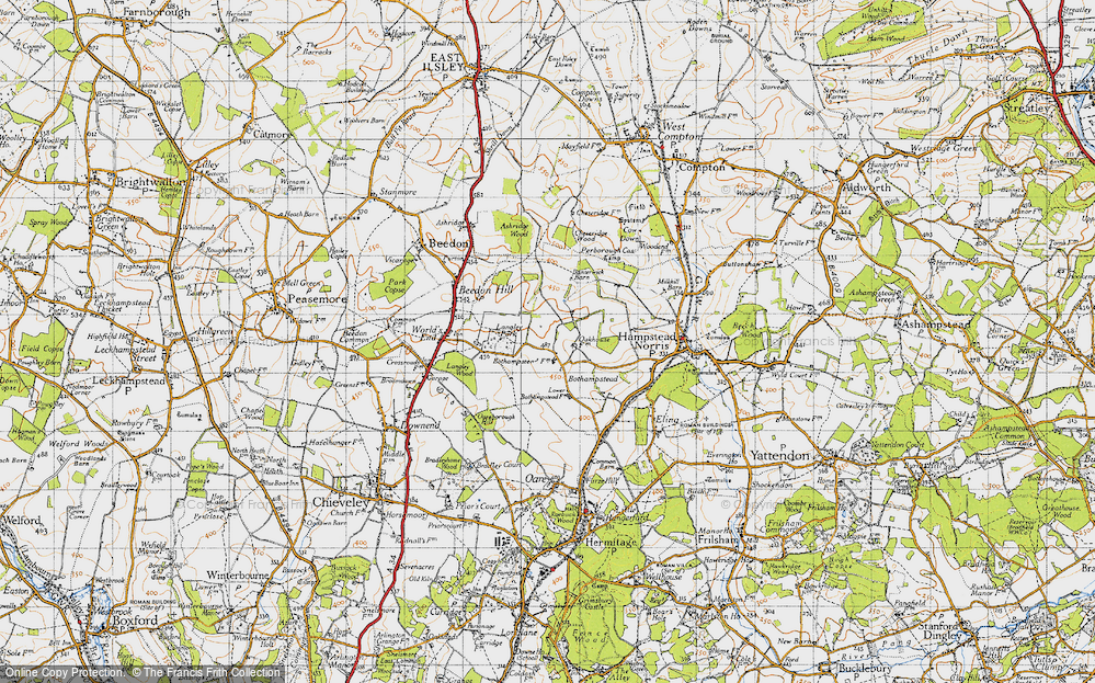 Old Map of Historic Map covering Ashridge Wood in 1947