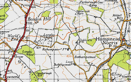 Old map of Ashridge Wood in 1947