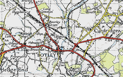 Old map of Botley in 1945