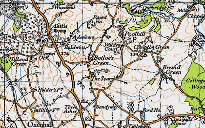 Old map of Botloe's Green in 1947