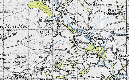 Old map of Botternell in 1946