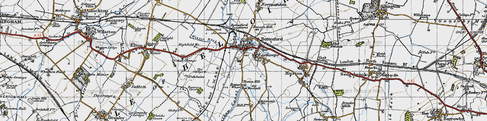 Old map of Bottesford in 1946