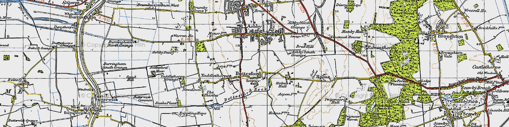 Old map of Bottesford in 1947