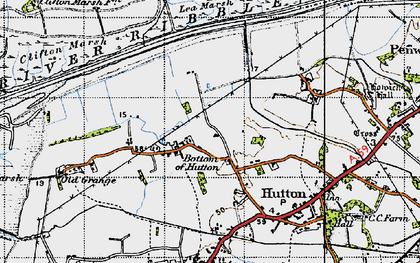 Old map of Bottom of Hutton in 1947