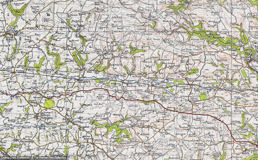 Old Map of Historic Map covering Lee in 1946