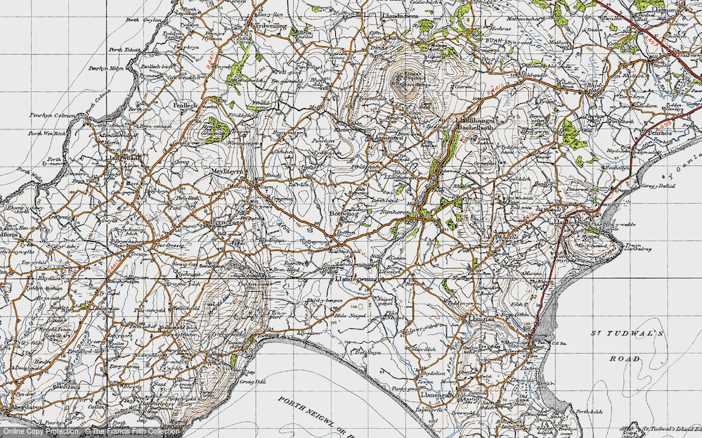 Old Map of Historic Map covering Llandegwning in 1947