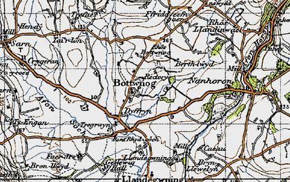 Old map of Botwnnog in 1947