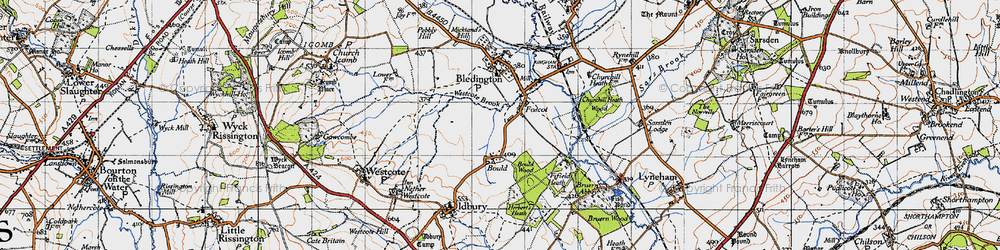 Old map of Westcote Brook in 1946