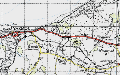 Old map of Bouldnor in 1945