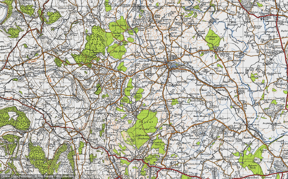 Old Map of Historic Map covering Acorn Wood in 1947