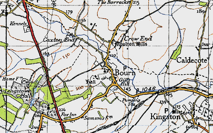 Old map of Bourn in 1946